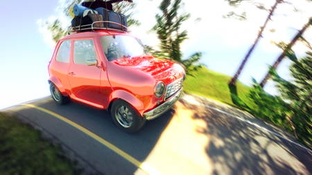abstract cartoon car traveling with a roof rack on a mountain road. 3d illustration