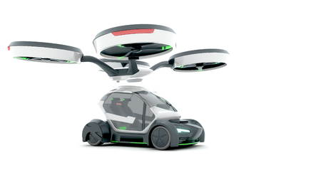Demonstration of autonomous electric flying car.3D illustration