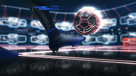 Soccer ball floating in space to goal with neon shot effect 3d illustration