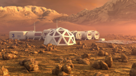 Mars planet satellite station orbit base martian colony space landscape.