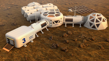 Mars planète satellite station orbit base martien colonie espace paysage. Éléments de cette image fournis par la NASA. Banque d'images - 87102745