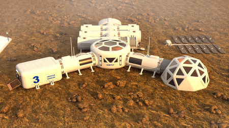 Mars planet satellite station orbit base martian colony space landscape.