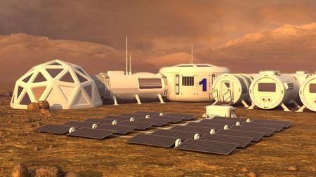 Mars planety satelity staci bazy orbitalnej martian koloni przestrzeni krajobraz. Elementy tego obrazu dostarczone przez NASA. Zdjęcie Seryjne