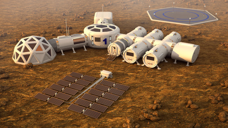 The colony on Mars. Autonomous life on Mars Banco de Imagens - 87303028