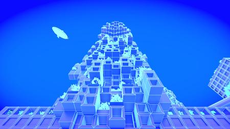 building. concept future city skyline. Futuristic business vision concept. 3d illustration. Stock Photo