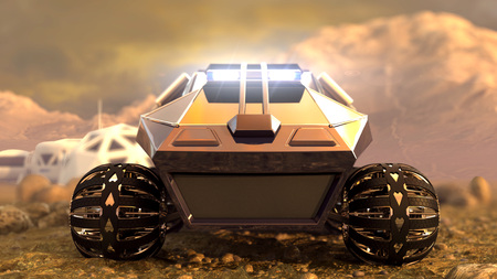 Mars Rover Space Travel. Front view. 3D rendering