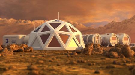 Lagerhalle Die Kolonie auf dem Mars. Autonomes Leben auf dem Mars. 3D-Rendering