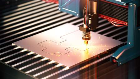 metall cutter cut the steel. 3d rendering