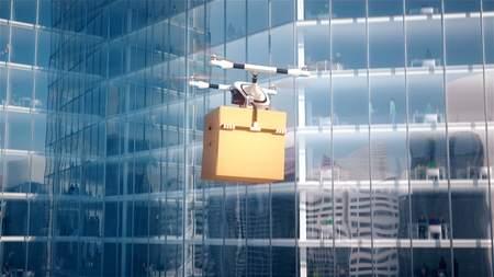 Quadcopter delivers mailbox into business center 3d illustration