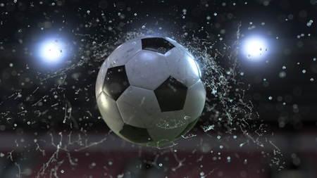 Soccer ball flying through water drops. 3d illustration