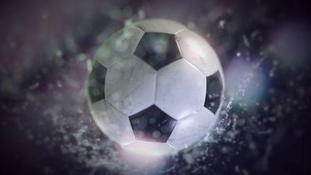 Soccer ball flying through water drops 3d illustration Фото со стока