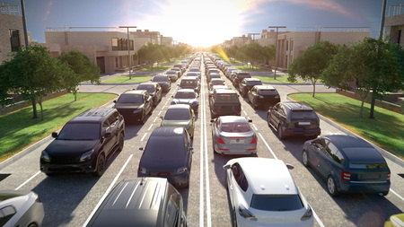 Traffic jam, sunset time. 3d illustration.