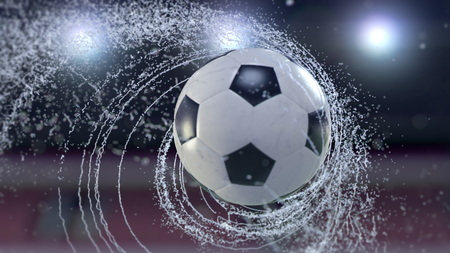 Soccer ball flies emitting whirl of water drops, 3d illustration 写真素材