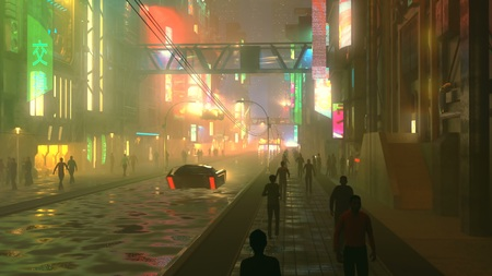 Sci fi futuristic city at night with aerial city traffic and peoples 3d illustration
