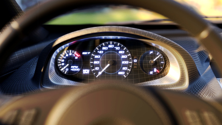 Dashboard in the car. Speed MPH Stock Photo