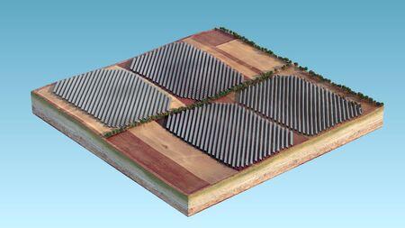 Solar panels, isolated island. Energy of sun