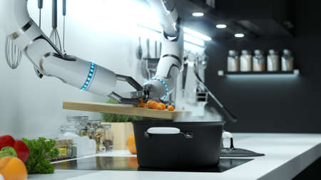Robot hand prepares soup in a modern kitchen. Dumping the mark into boiling water. 写真素材