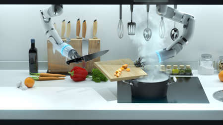 Robot hand prepares lunch in the kitchen. Cooking food by robots, automatic cooking.