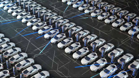 Parking with charger for electric vehicles. Charging stations. Electric field charges. 写真素材