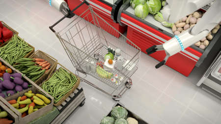 Shopping cart with groceries in the supermarket. Robots hand makes grocery shopping.