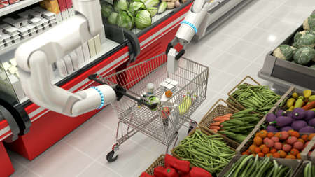 The grocery basket is being filled with robotic arms. Robots making a purchase. Remote purchases. 写真素材