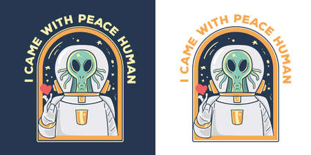 alien come with peace illustration Illusztráció