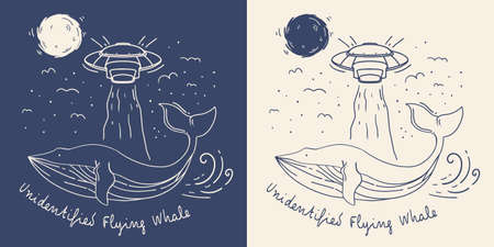 whale with ufo illustration
