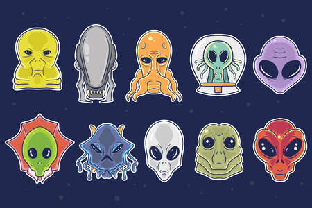cute hand drawn alien cartoon illustration collection set