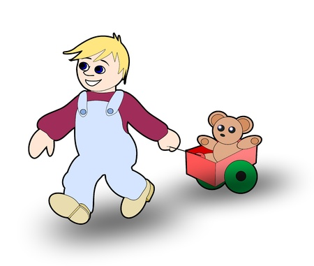 A little boy pulling a wagon with a teddy bear.   Stock Photo