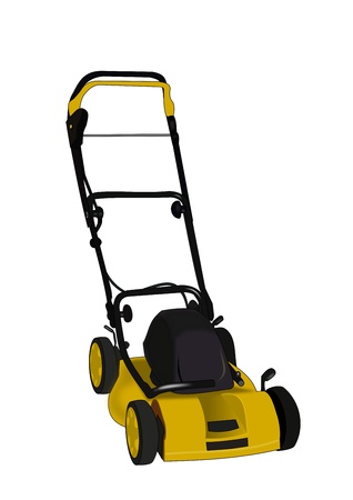 push mower: Illustration of a  lawn mower on a white background. Stock Photo