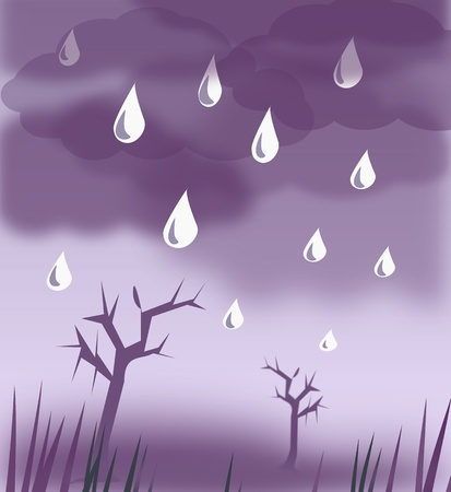 barren: Raindrops falling from a  sky with dark clouds over a desolate landscape.