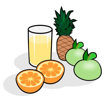 apples and oranges: Apples, oranges, pineapple and a glass of juice. Stock Photo
