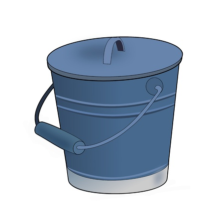 Illustration of a bucket with lid on a white background.  Stock Illustration - 11210423