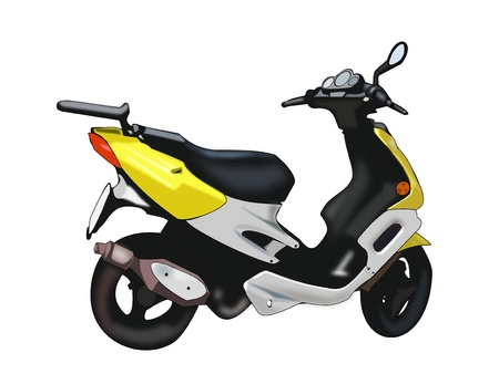Illustration of a scooter on a white background.  illustration