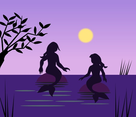 Two mermaids sitting and talking in the moonlight. photo