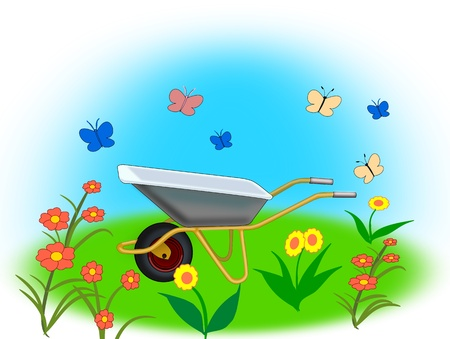 A wheelbarrow, red and yellow   flowers and many butterflies.  photo