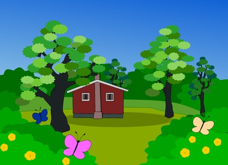 A little house, big trees and bushes and some colorful butterflies.  photo