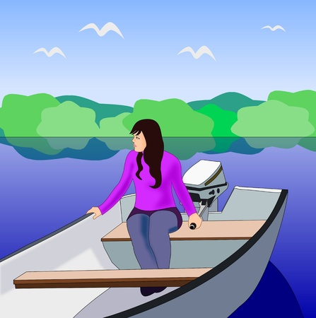 A girl sitting in a small boat on a river or lake.  photo