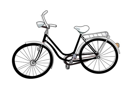 Illustration of an old black bicycle over a white background.  illustration