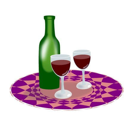intoxicating: A green bottle of wine and two glasses on a round tablecloth.