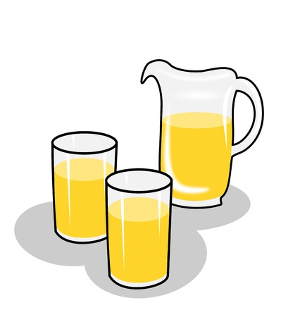 Two glasses and a jug of juice.   photo