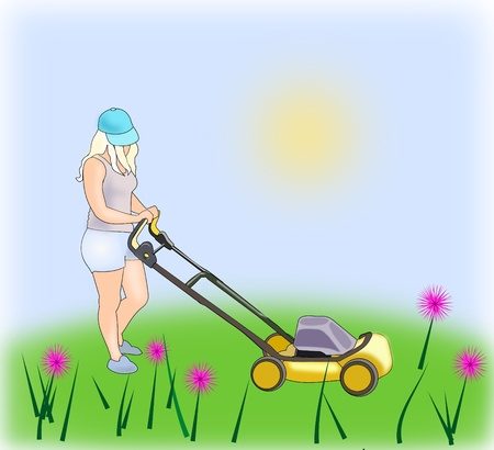 Girl with Lawn Mower photo