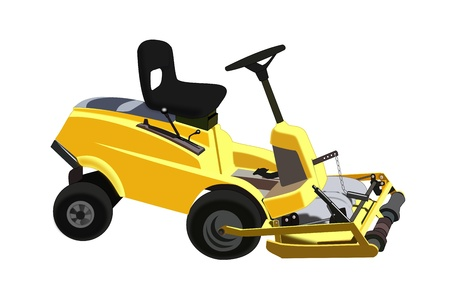 push mower: Illustration of a  lawn mower on a white background.