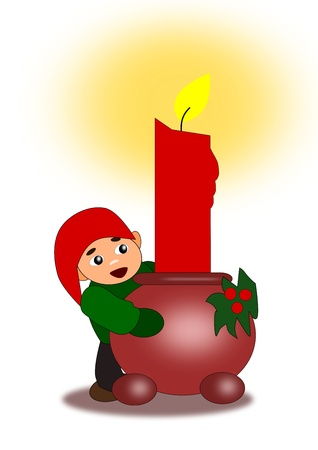 A candlestick with a lighted candle and a little elf who looks out from behind it. photo