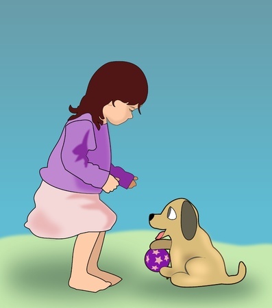 A little girl playing with a dog.   photo