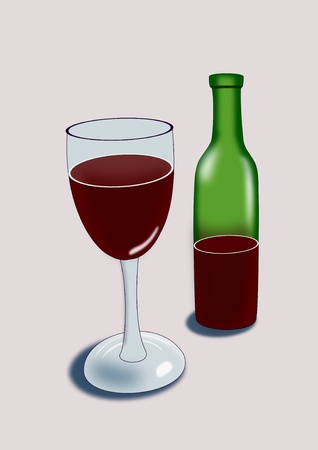 intoxicating: A green bottle of wine and a glass.