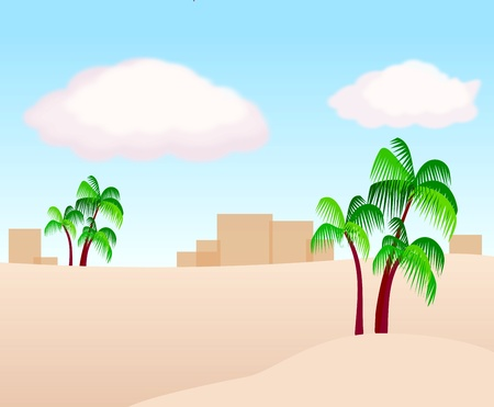 Desert Landscape with a few palm trees and buildings in the background.  photo