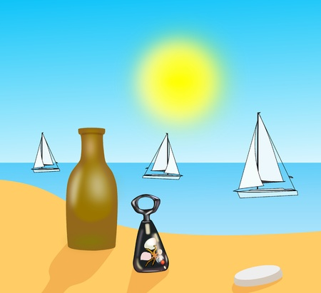 A brown bottle and a bottle opener that is on a beach and sail boats at sea. photo