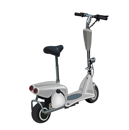 Illustration of a go-ped on a  white background.