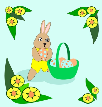 A little bunny putting Easter eggs in a green basket. photo